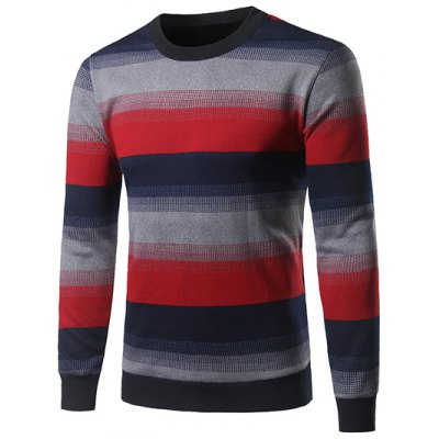 Crew Neck Color Block Ombre Spliced Stripe Sweater