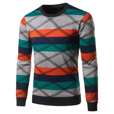 Crew Neck Color Block Spliced Cross Stripe Sweater