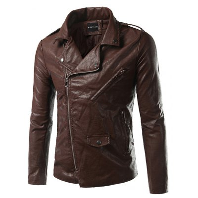 Side Zip Up Faux Leather Jacket