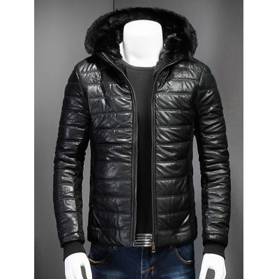 Zipper Up PU Leather Jacket with Fur Trim Hood