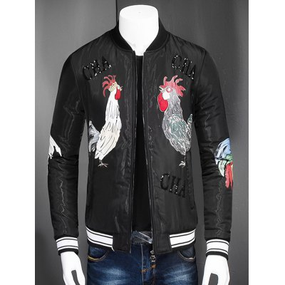 Stand Collar Zip Up Rooster Printed Jacket