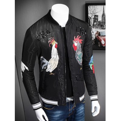 stand-collar-zip-up-rooster-printed-jacket
