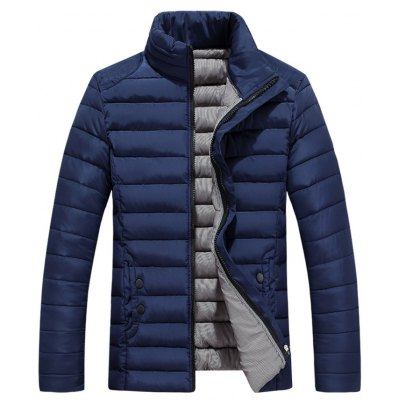 Button Embellished Zip Up Quilted Jacket