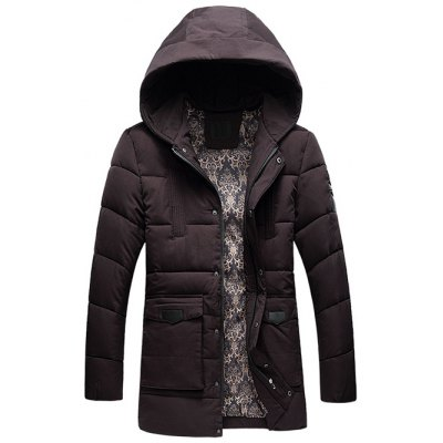 PU Patch Flap Pocket Hooded Padded Coat