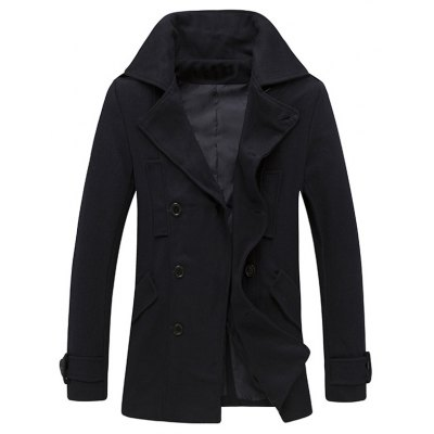 Button Tab Cuff Epaulet Design Pea Coat