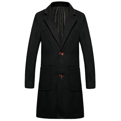Lapel Single Breasted Wool Blend Overcoat