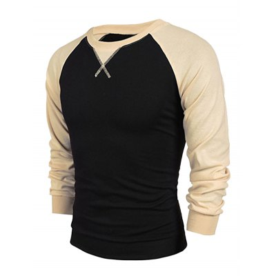 Raglan Sleeve Crew Neck Two Tone Sweatshirt
