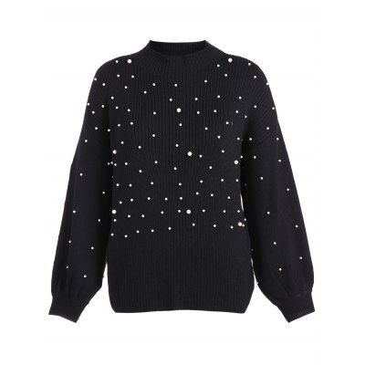 Lantern Sleeve Beading Loose Sweater