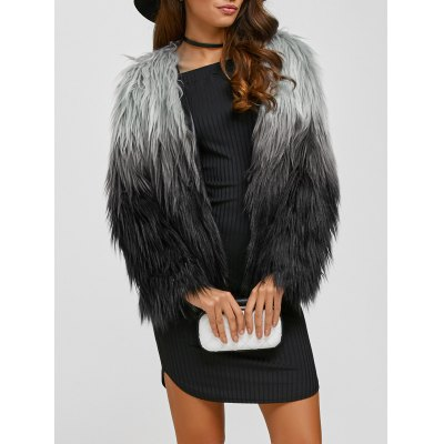 Collarless Ombre Faux Fur Coat