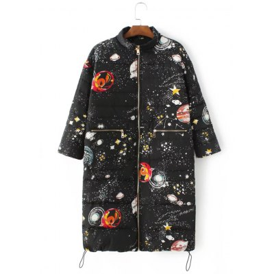 Starry Sky Print Long Quilted Coat