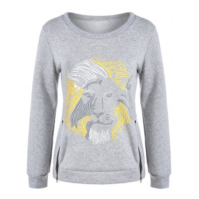 Lion Graphic Zipper Design Sweatshirt