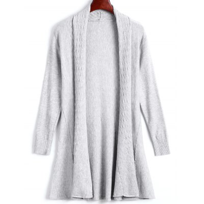 Solid Color Long Open Front Fitted Cardigan