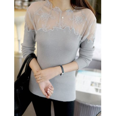 Embroidered Mesh Insert Ribbed Knitwear