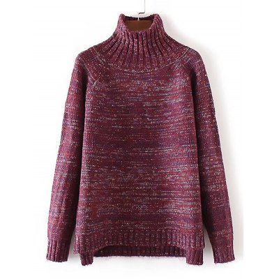 Funnel Neck High Low Sweater