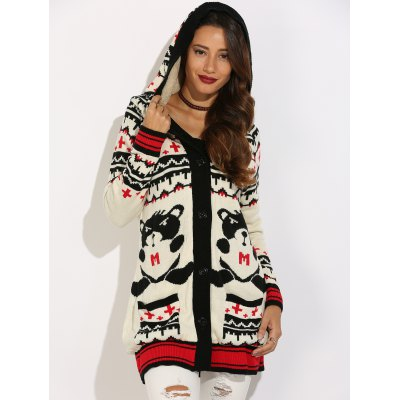 Hooded Cartoon Geometric Graphic Knit Cardigan