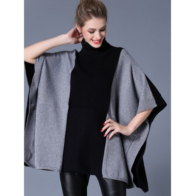 Loose Side Button Design Cape Sweater