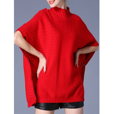 High Neck Loose Side Button Design Cape Sweater