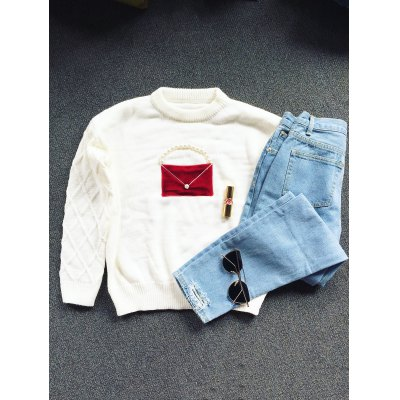 Crew Neck Patched Faux Pearl Sweater