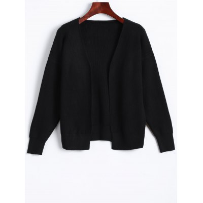 Casual Collarless Knit Cardigan