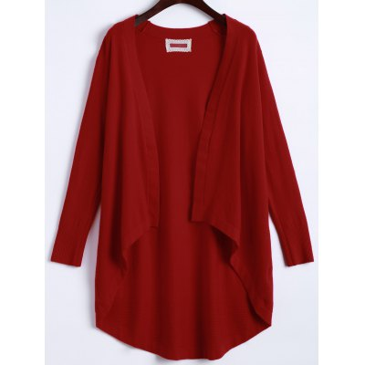Open Front High Low Knit Cardigan
