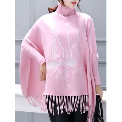 Turtleneck Batwing Sleeve Embroidered Asymmetric Cape Sweater