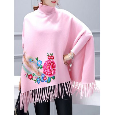 Batwing Sleeve Asymmetric Embroidered Cape Sweater
