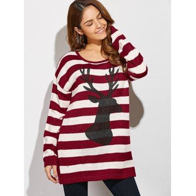 Christmas Button Back Striped SweaterSweaters &amp; Cardigans<br>Christmas Button Back Striped Sweater<br><br>Type: Pullovers<br>Material: Acrylic<br>Sleeve Length: Full<br>Collar: Scoop Neck<br>Style: Casual<br>Pattern Type: Animal<br>Season: Fall,Spring,Winter<br>Weight: 0.444kg<br>Package Contents: 1 x Sweater