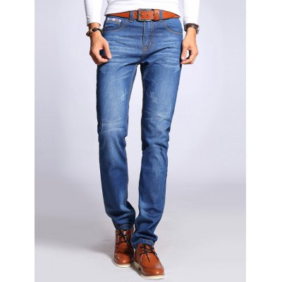 Straight Leg Selvage Design Jeans in Taper Fit