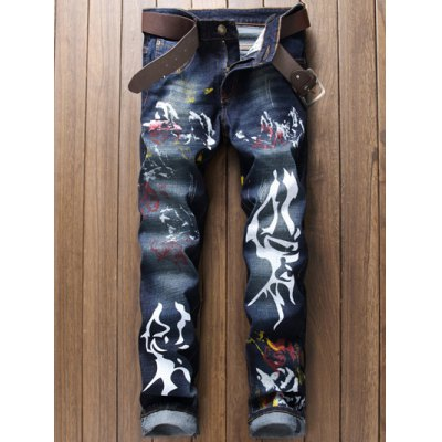 Paint Print Scratched Zipper Fly Straight Leg Jeans