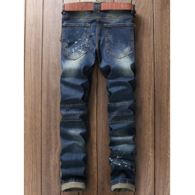 Scratched Zippered Pocket Rivet Paneled Ripped Jeans