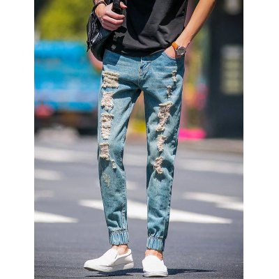 Slim Fit Zip Fly Jogger Jeans with Broken Hole