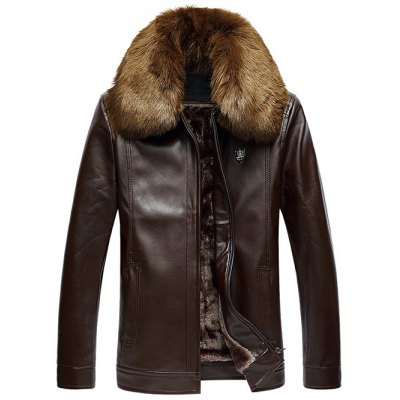 Faux Fur Collar Zip Up PU Leather Jacket