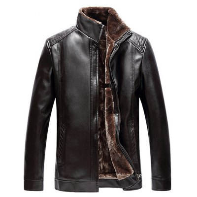 Stand Collar Zip Up PU Leather Jacket