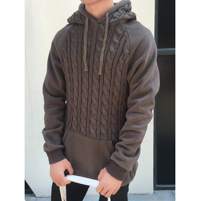 Hooded Kink Design Knitting Splicing Hoodie от GearBest.com INT