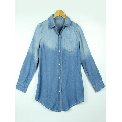 Button Up Washed Denim Shirt