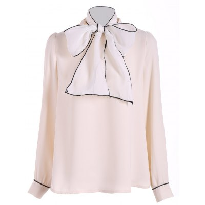 Pussy Bow Tied Neck Chiffon Blouse