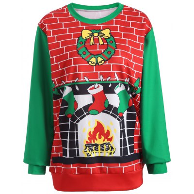 3D Christmas Print Color Block Sweatshirt