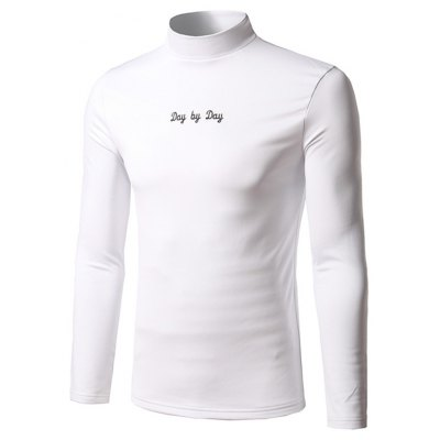 Long Sleeve Stand Collar Embroidered T-Shirt