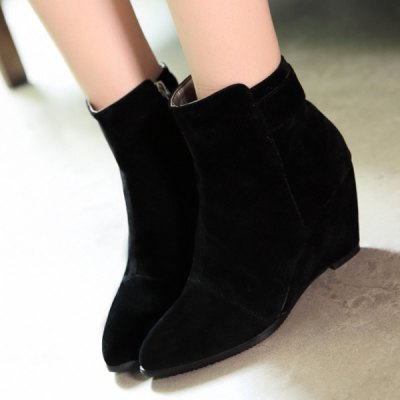 Pointed Toe Wedge Heel Boots