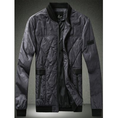PU Leather Spliced Stand Collar Argyle Quilted Jacket