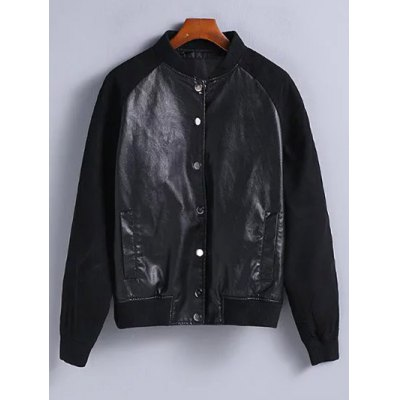 Suede Sleeves PU Leather Bomber Jacket