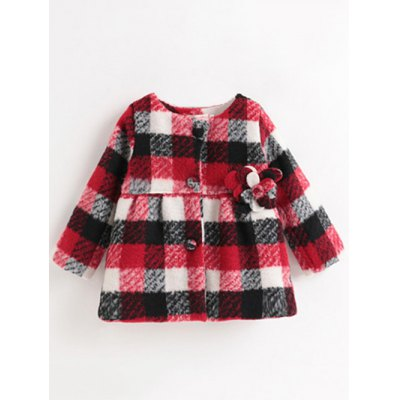 Buttoned Plaid Flower Woolen Coat