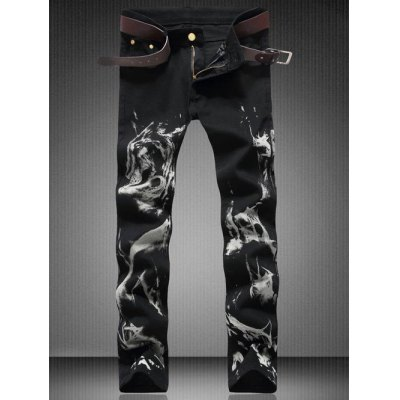 Zipper Fly Straight Wolf Graphic Jeans