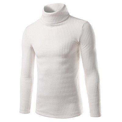 Ribbed Turtleneck Pullover Sweater