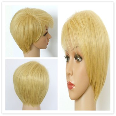 Short Fluffy Light Blonde Side Bang Synthetic Hair Wig