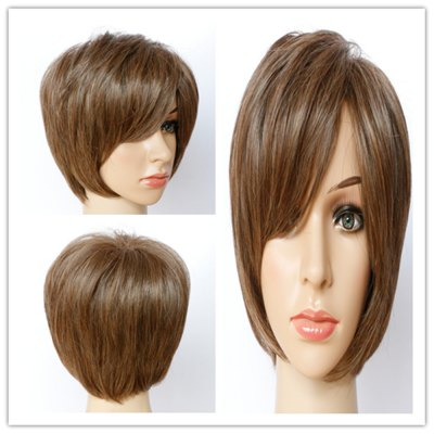 Stylish Short Shaggy Mixed Color Side Bang Synthetic Hair Wig For Women