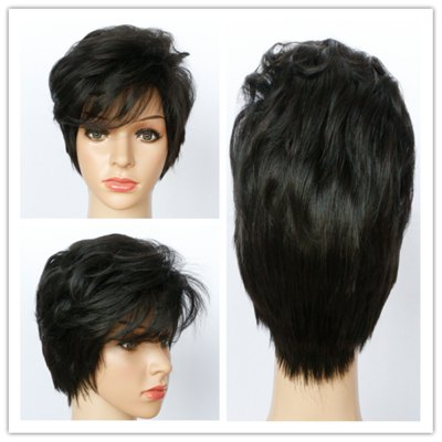 Fluffy Curly Short Capless Vogue Natural Black Side Bang Synthetic Wig For Women