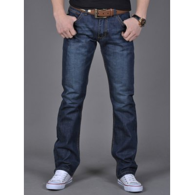 Zipper Fly Flap Pocket Straight Leg Jeans