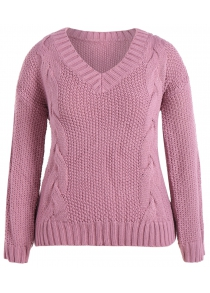 Cable Knit Plus Size Sweater