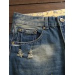 cheap Zipper Fly Pocket Rivet Scratched Ripped Jeans